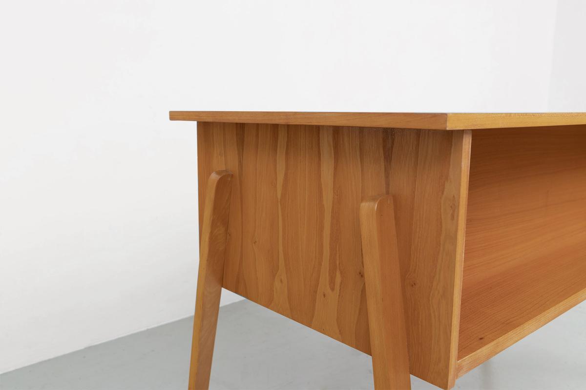 Schreibtisch 60er Esche Buecherablage
