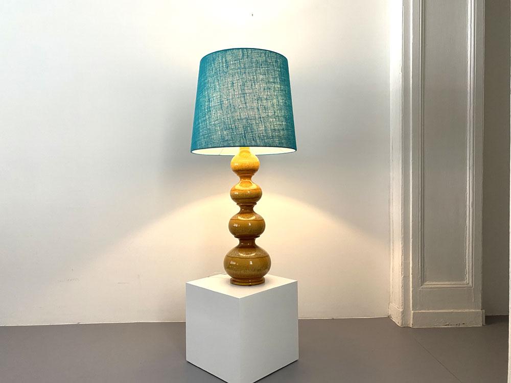 Mid-century Leuchte, Stoff-Lampenschirm