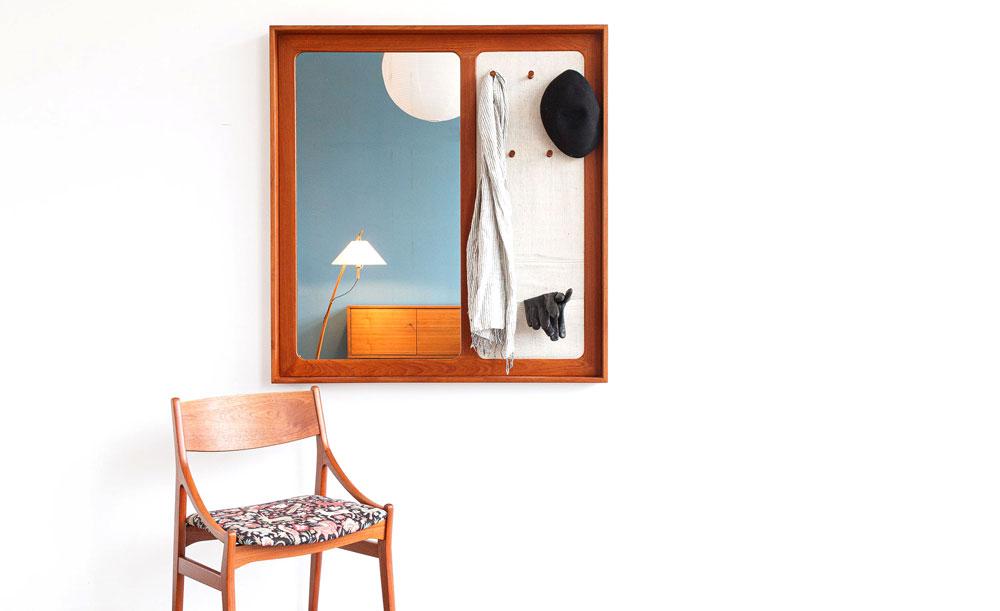 Spiegel Garderobe, Leinenstoff, Vintage, designklassiker