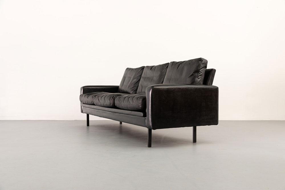 Couch, Vintage, Leder mit Federnkern-Inletts