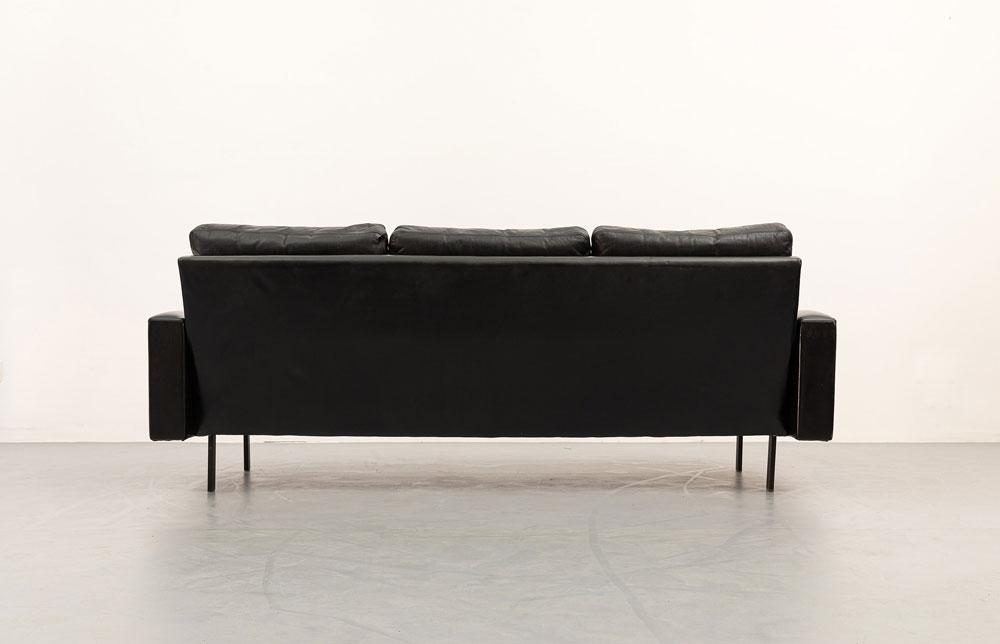 60er Jahre Sofa, Leder, schwarz