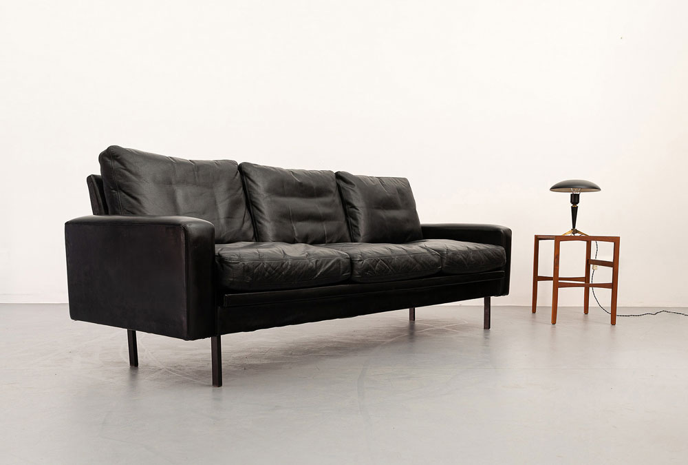 Wohnzimmer Couch, 60er Jahre, Leder