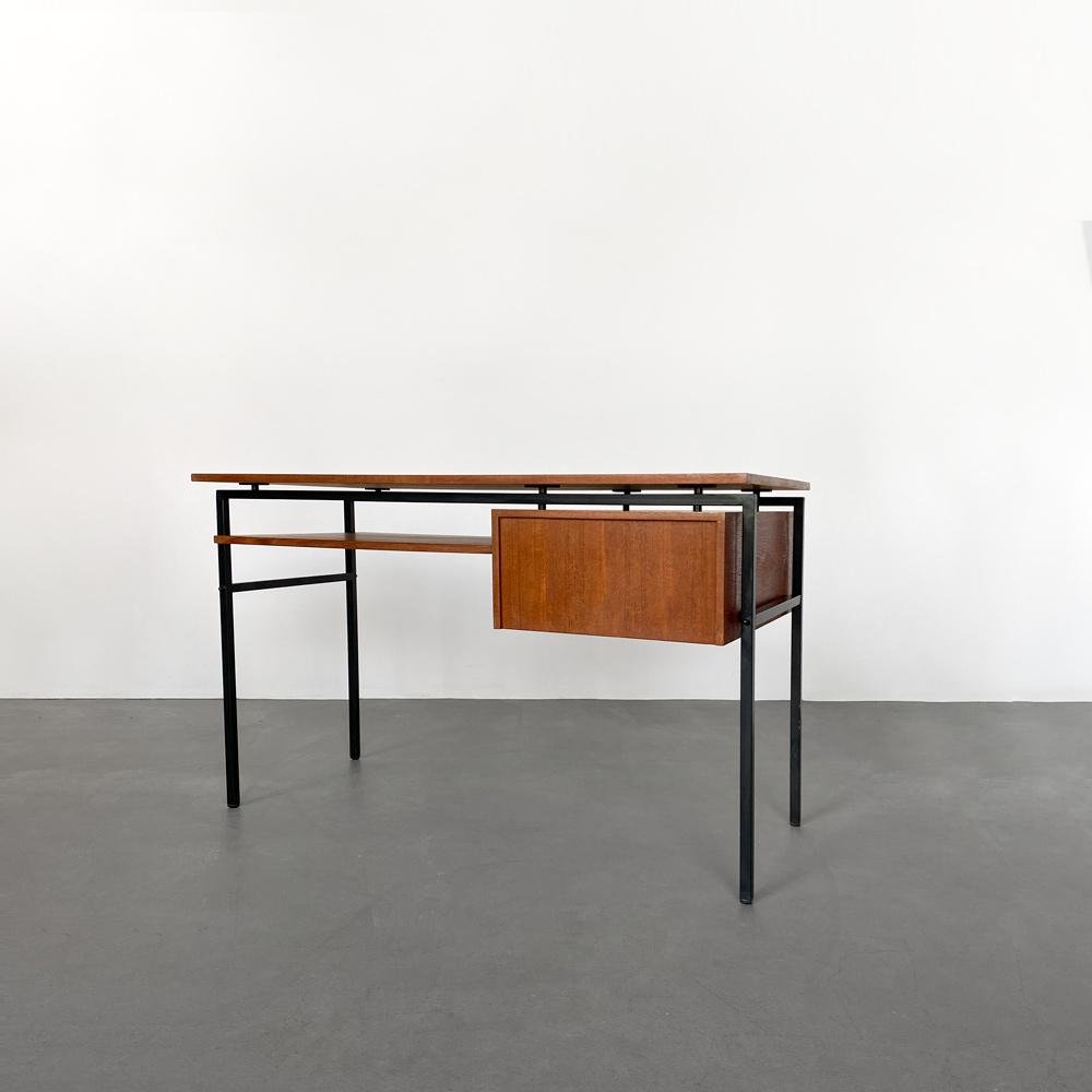 Schreibtisch Stahlrahmen schwarz teak