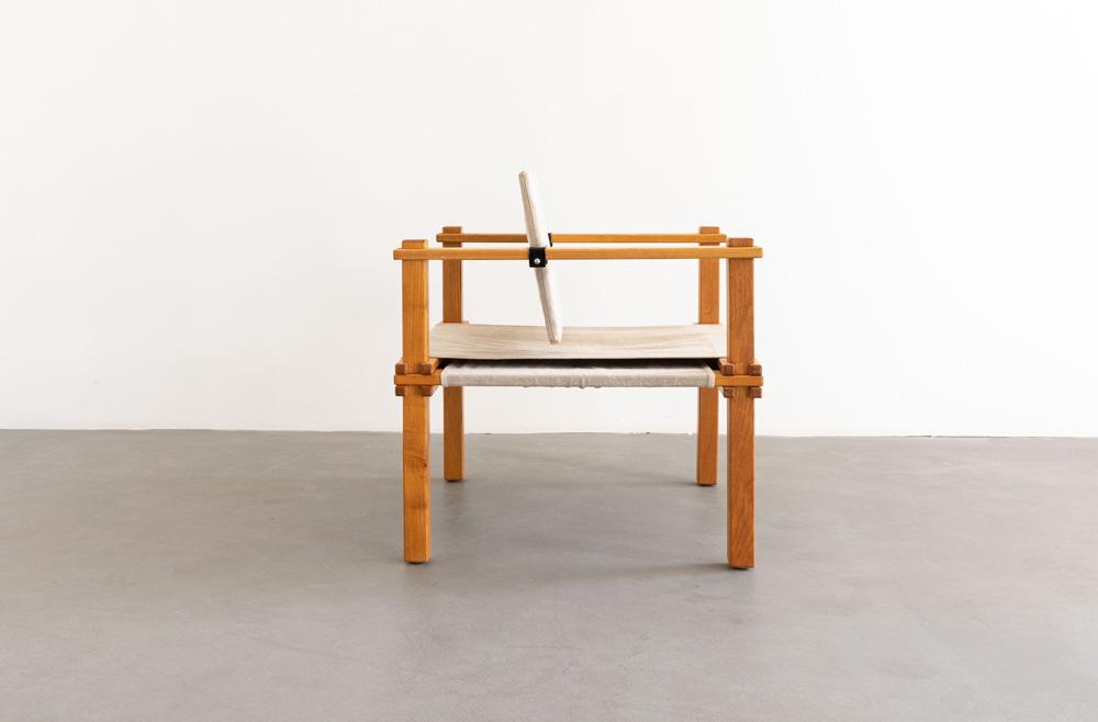 Stuhl, Sessel, Esche furniert, Mid-century