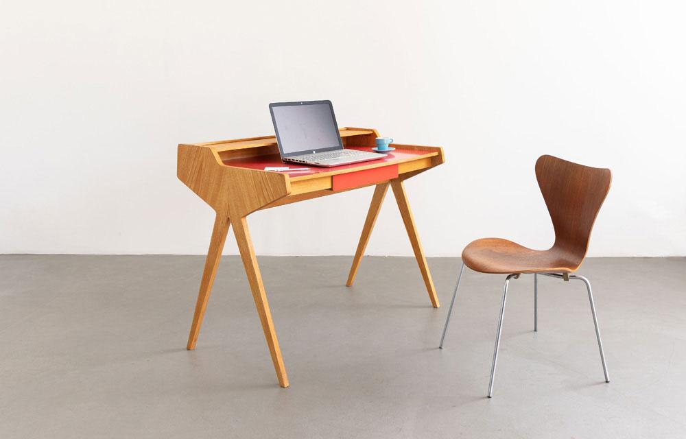 Schreibtisch Esche furniert, Vintage