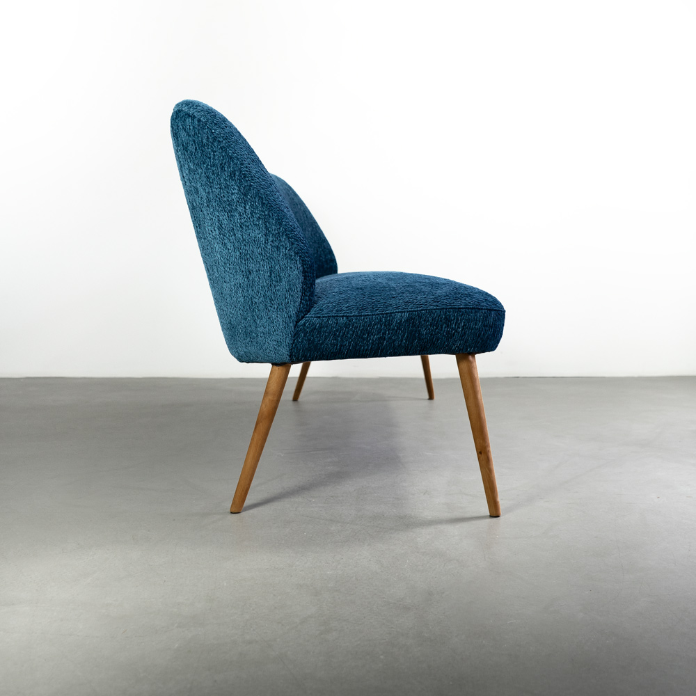 Cocktailsessel blau midcentury Bouclé