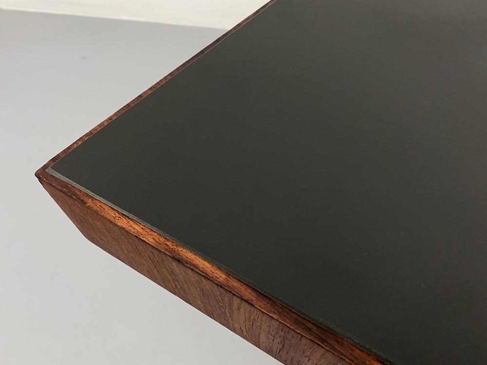 Teak Schreibtisch, Stahl-Gestell, mit Schublade